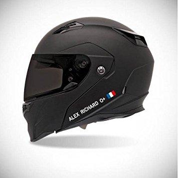 autocollant casque moto noir