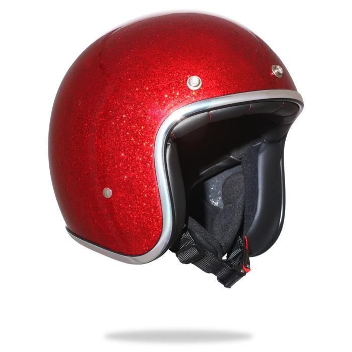 casque jet rouge
